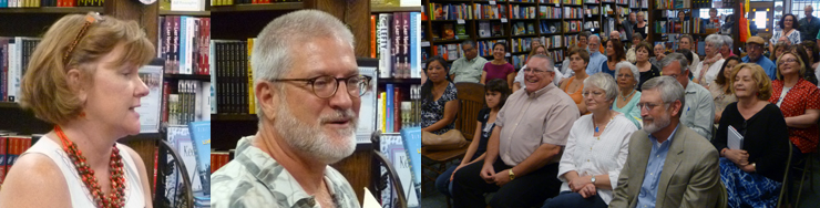 Blue Willow owner Valerie Koehler; Texas Poetry Calendar editor Scott Wiggerman; the audience for the reading