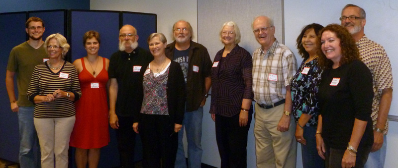 Poets Wade Martin, Sandra Boike Cobb, Allyson Whipple, Jim LaVilla-Havelin, Donna Bowling, Brady Peterson, Elizabeth Raby, J. Paul Holcomb, Gloria Amescua, Susan Rooke, and David Meischen (reading host).