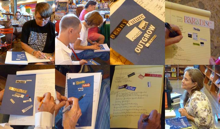 A collage showing individuals at work during Naomi Shihab Nye's workshop.
