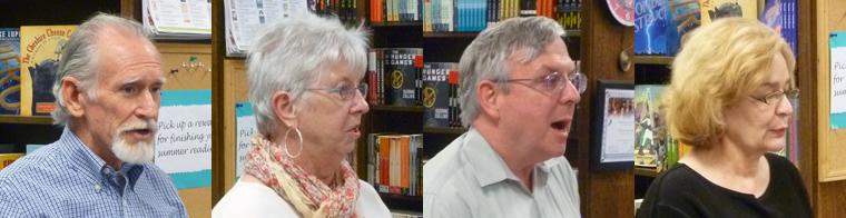 Poets Thomas Ames, Kay Cox, Stan Crawford, and Carolyn Dahl