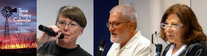 Texas Poetry Calendar editors Cindy Huyser & Scott Wiggerman; poet Gloria Amescua