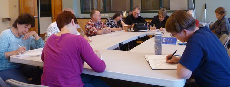Participants at work in David Meischen's Wingbeats workshop